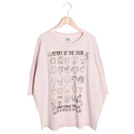 ライオンHair柄Tシャツ (ピンク)