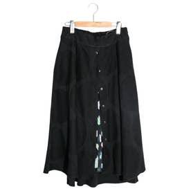 ネコ柄プリーツシフォン×水玉ジャガード前開きスカート (ブラック)