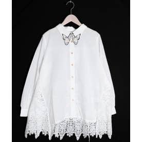 蝶襟刺繍スカラップレースシャツ (オフホワイト)