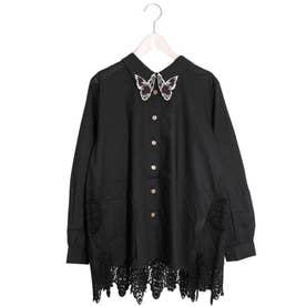 蝶襟刺繍スカラップレースシャツ (ブラック)