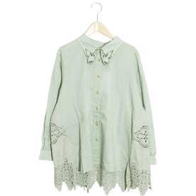 蝶襟刺繍スカラップレースシャツ (カーキ)