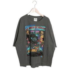 WORLD OF SCOLAR柄Tシャツ (チャコールグレー)