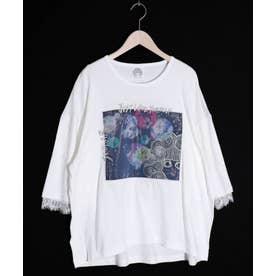 アップリケ×スカラーちゃん刺繍プルオーバー (オフホワイト)