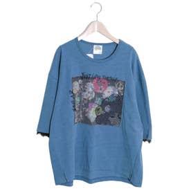 アップリケ×スカラーちゃん刺繍プルオーバー (ブルー)
