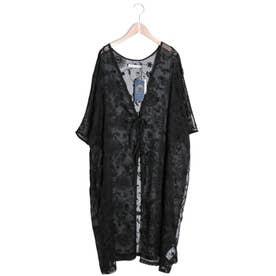 シフォン楊柳 花刺繍ロングカーディガン (ブラック)