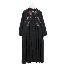 花刺繍シャツワンピース (ブラック)