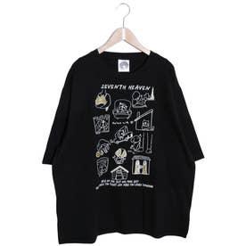 わんちゃんカワイイ柄ラメプリントTシャツ (ブラック)