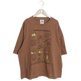 わんちゃんカワイイ柄ラメプリントTシャツ (ブラウン)