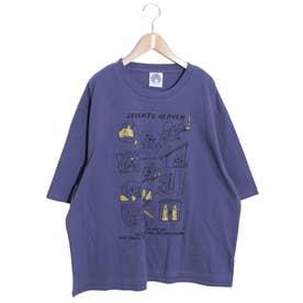 わんちゃんカワイイ柄ラメプリントTシャツ (パープル)