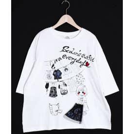 女の子洗濯柄Tシャツ (オフホワイト)