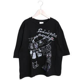 女の子洗濯柄Tシャツ (ブラック)