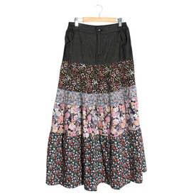 デニム×花柄mixスカート (ブラック)