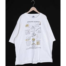 わんちゃんカワイイ柄ラメプリントTシャツ (オフホワイト)