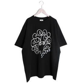 コードテープ貼り付けスカラーちゃんTシャツ (ブラック)