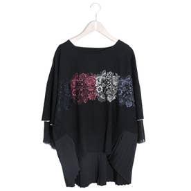 蝶花刺繍シフォン切替プルオーバー (ブラック)
