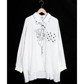 ネコ刺繍シャツ (オフホワイト)