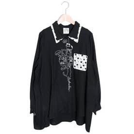ネコ刺繍シャツ (ブラック)