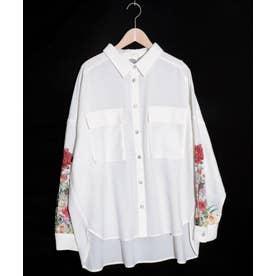 花柄袖シャツ (オフホワイト)
