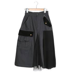 異素材切替スカート (ブラック)