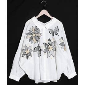 花蝶刺繍シャツ (オフホワイト)