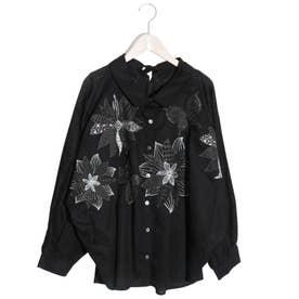 花蝶刺繍シャツ (ブラック)