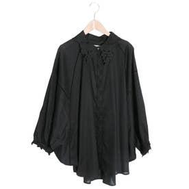 ぶどう刺繍襟シャツ (ブラック)