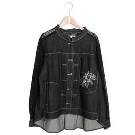 花蝶刺繍デニム×レース切替ジャケット (ブラック)
