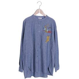 ポケットアニマル刺繍ノーカラーシャツ (ネイビー)
