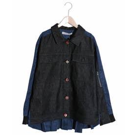 クルミ釦 異素材切替デニムジャケット (ブラック)
