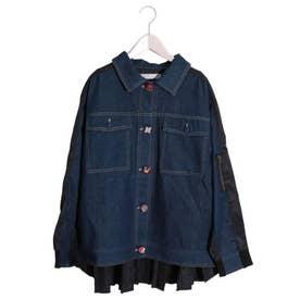 クルミ釦 異素材切替デニムジャケット (ネイビー)