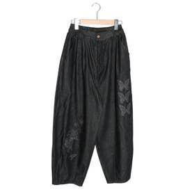 蝶花刺繍パンツ (ブラック)