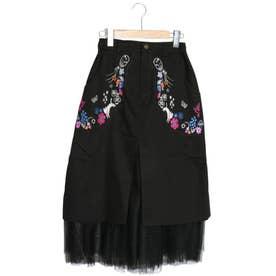 ネコ花刺繍ベイカースカート (ブラック)