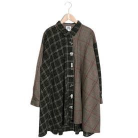 切替チェック刺繍シャツワンピース (ブラック)