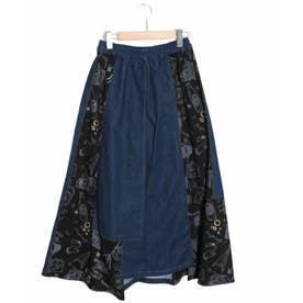 異素材切替スカート (ネイビー)