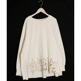 裾刺繍裏毛プルオーバー (アイボリー)