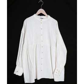 バンドカラー刺繍シャツ (オフホワイト)