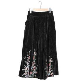 裾花刺繍コーデュロイパンツ (ブラック)
