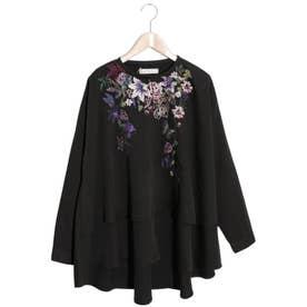 花柄刺繍 布帛プルオーバー (ブラック)