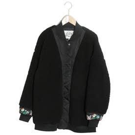 袖花蝶刺繍ボア中綿ブルゾン (ブラック)