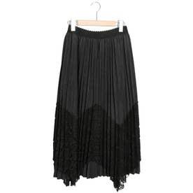 レース重ねプリーツスカート (ブラック)