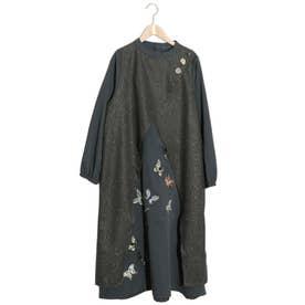 蝶刺繍異素材切替ワンピース (チャコールグレー)