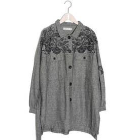 花蝶刺繍ヘリンボーンジャケット (ブラック)