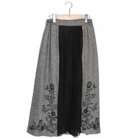花蝶刺繍ヘリンボーンスカート (ブラック)