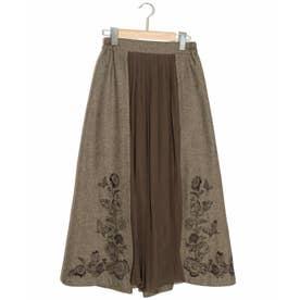 花蝶刺繍ヘリンボーンスカート (ベージュ)