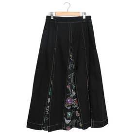 チェア柄スリット切替スカート (ブラック)