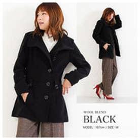 超美形AラインコートPコート ブラック