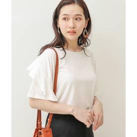 フリル袖Tシャツ (puホワイト)