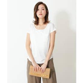 美ライン♪シンプルベーシックTシャツ (ホワイト(Uネック))