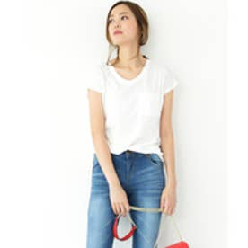 美ライン♪シンプルベーシックTシャツ (ホワイト(Vネック))