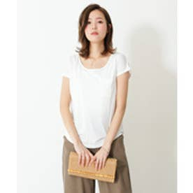 美ライン♪シンプルベーシックTシャツ (puホワイト(Uネック))